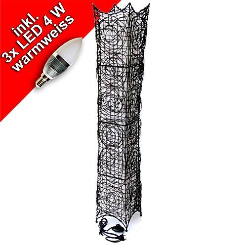 Rattan Stehleuchte, Stehlampe 3 flammig, dunkelbraun, ca. 116 cm, incl.3 x 4 Watt LED Leuchtmittel