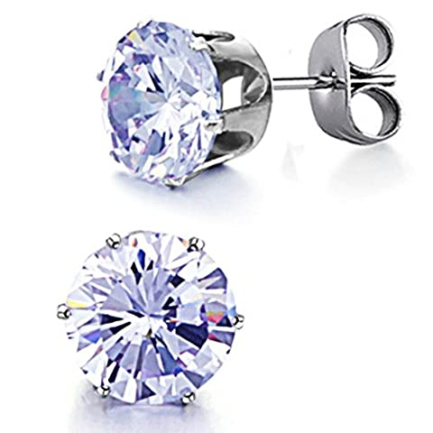 Opk Jewellery Cubic zirconia Blue Crystal Stone 10mm 316L Titanium Steel Women Stud Earrings