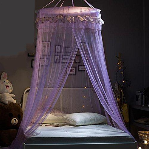 Mit Prinzessin Kleinkind Bett Baldachin (Luxus Spitze Moskitonetz Zelt Dome für Single Doppelbett Netting Baldachin Vorhänge mit Einer Tür Landung für Kinder Erwachsene Anti Bites Home Deco ( Farbe : Lila ))