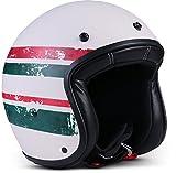 """Rebel  R9 """"Stripes Green"""" (Grün)  Jet-Helm  Scooter-Helm Roller Chopper Bobber Mofa Motorrad-Helm  ECE zertifiziert  DOT zertifiziert  Fiberglass  Extra kleine Helmschale  M (57-58cm)"""