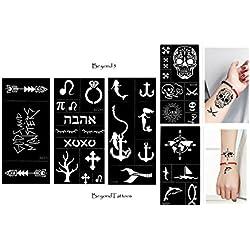 Tattoo Plantilla Plantillas 5Sheets ancla Calavera Mapa del Mundo para cuerpo y más Beyond 5