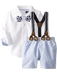 Mud Pie Baby-Boys Newborn Suspender Short Set Chambray (3T)