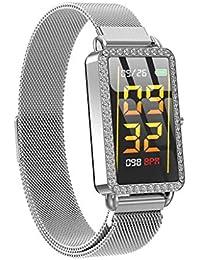CUEUY Mode Fitness Tracker,Smartwatch mit Blutdruck- und Herzfrequenz Monitor,A88 Farbbildschirm,Mehrfachsportmodus, Fitness Uhr Für Android und IOS Smartphones,Damen Herren (Silber)
