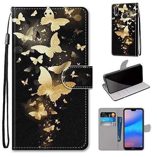 Miagon Flip PU Leder Schutzhülle für Huawei P20 Lite,Bunt Muster Hülle Brieftasche Case Cover Ständer mit Kartenfächer Trageschlaufe,Gold Schmetterling