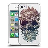 Head Case Designs Offizielle Ali Gulec Schaedel Blumig Soft Gel Hülle für iPhone 4 / iPhone 4S