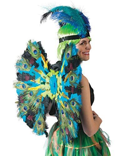Pfauen-Flügel mit Federn Deluxe Accessoire blau-grün 60cm (Grüne Vogel Flügel Kostüm)
