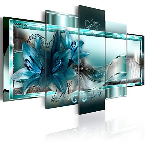 Murando   Cuadro Cristal acrílico Flores Lirios 200x100