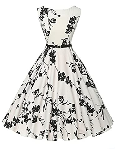Christmas Party Dress 50s Vintage Retro Belted Swing Cocktail Party Dress (11#,XL)
