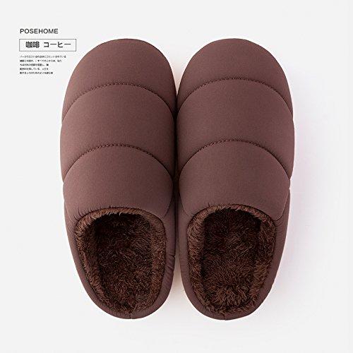 Couples Fankou Maison Coton Femmes Pantoufles Maison Intérieure Jeunes Chaussures Chaudes Pantoufles Antidérapantes Parent Mâle Hiver 35-42, Dunkelblau