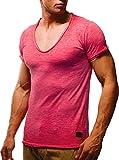 LEIF NELSON Herren oversize verwaschene T-Shirts tiefer V-Ausschnitt Shirts Basic LN6280-1; Größe L, Verw. Rot