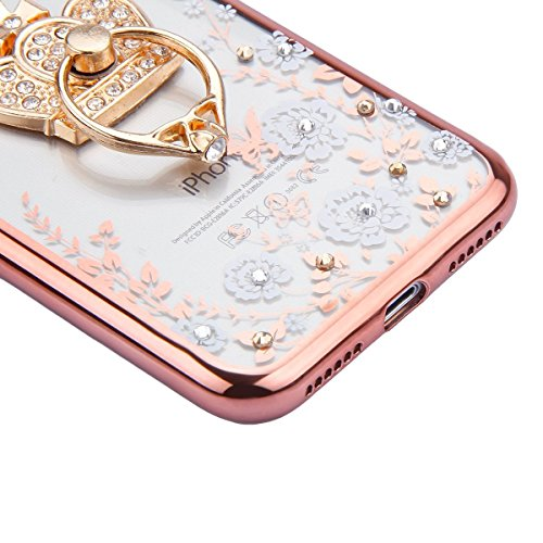 iPhone 7 Plus Clear Transparent Glitzer Case,Glitzer Transparent Hülle für iPhone 7 Plus,iPhone 7 Plus Crystal Clear Hardcase Case Hülle Liquid Gel Schutzhülle Etui für iPhone 7 Plus 5.5 Zoll,EMAXELER Bling Flower 7