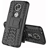 Spazy Case Moto E5 Plus Hybrid Armor Design Detachable And Stand-up Feature Dual Layer Protective Shell Hard Back Case For Moto E5 Plus-Space Black