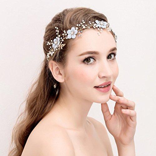 KHSKX-*Hellblaue Sen Weibliche Braut Hochzeitskleid Kopfschmuck Haare Kämmen Typ U Pearl Diamond...