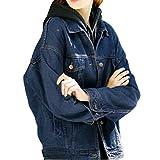 Sharewin weit geschnittene Damen-Jeansjacke im Boyfriend-Stil, langärmlig, blau, robust, ausgewaschen, Taschen und Knöpfe Gr. Medium, dunkelblau