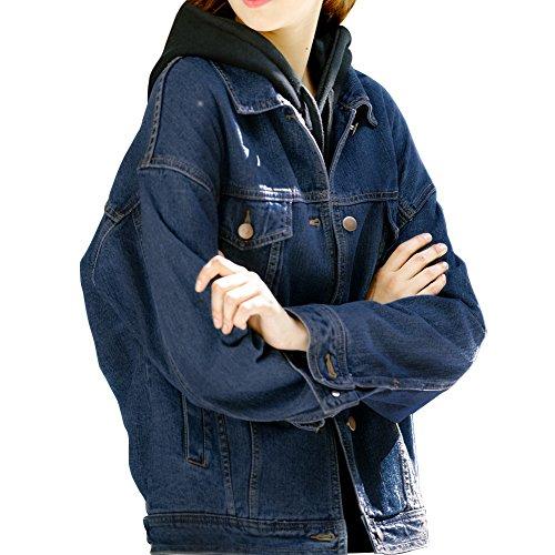 Sharewin weit geschnittene Damen-Jeansjacke im Boyfriend-Stil, langärmlig, blau, robust, ausgewaschen, Taschen und Knöpfe Gr. Small, dunkelblau