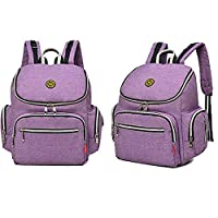 14 Pockets Baby Diaper Bag Organizer Water Resistant Oxford Fabric Travel Backpack with Changing Pad and Welkey Stroller Straps (Purple)