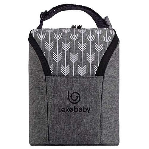 Lekebaby Kühltasche Baby Flaschentasche Isoliertasche Thermotasche für Babynahrung, Grau