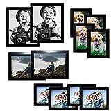 Cadre Photo 12 Pcs - Cadres Photo bois - 2x(20x25cm), 2x(15x20cm), 4x(13x18cm), 4x(10x15cm)- Cadre Photo Noir avec Tous les deux Paysage et Portrait Bras de Support pour la Maison, le Bureau et Studio