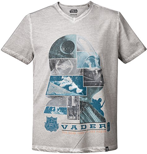 GOZOO Star Wars T-shirt Homme The Dark Side Of The Force Oil Dye 100% Coton Gris S