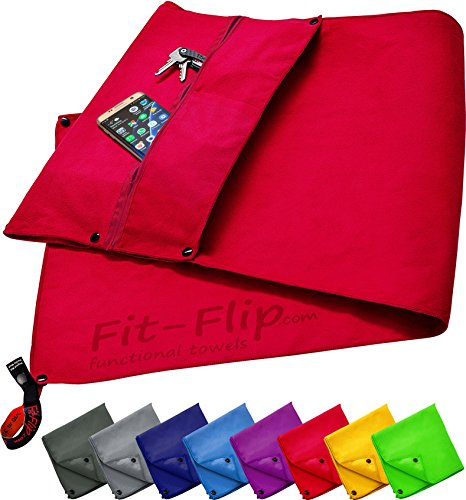Fit-Flip 3-TLG Fitness-Handtuch Set mit Reißverschluss Fach + Magnetclip + extra Sporthandtuch | zum Patent angemeldetes Multifunktionshandtuch, Microfaser Handtuch (rot) Flip Handy Form