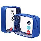 Eono Essentials - Neceser transparente unisex para organizar los artículos de aseo en el equipaje de mano Azul dos paquetes