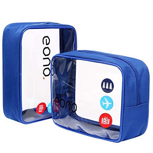 Eono Essentials, beauty case trasparente, borsetta portaoggetti da viaggio, per cosmetici e cura del corpo, unisex, da uomo e donna, impermeabile Blu Due pacchetti