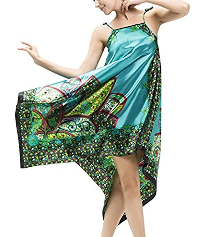 Dolamen Damen Satin Nachthemd Negliee, Sleepshirt Schlafanzug, Luxus Retro Druck Ladies Lang Nachtwäsche Nachtkleid Lingerie Pyjamas Sleepwear, Büste: 110cm, 43.31 Zoll (Weiche Womens Chemise)