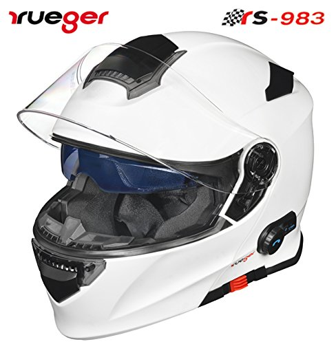 rueger Klapphelm RS-983 COM Matt Weiß mit Bluetooth und getöntem inneren Klappvisier. Größe M (57-58)