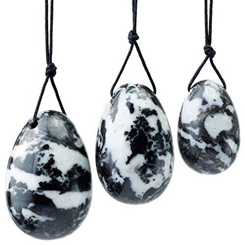 Shanxing Naturel Noir et Blanc Zèbre Jaspe Oeuf de Yoni Ensemble de 3 Pièces avec Ficelle,Massage Pierre d'exercice Oeuf pour Femme pour Renforcer Muscles du Plancher Pelvien