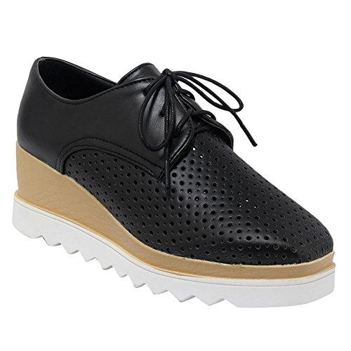 MissSaSa Femmes Chaussures Plateforme perméables à l'air Fermeture Lacets Noir