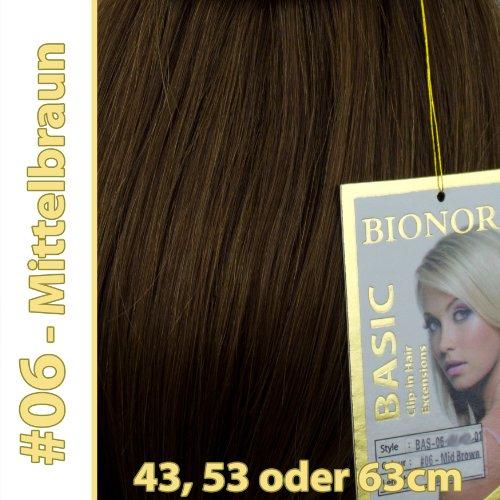 Braune Haare Farbtöne (Clip-in Haar Extensions mit Echthaar, #06, Mittelbraun, in 40cm, 50cm od. 60cm (+), BASIC von BIONORA, Haarverlängerung)