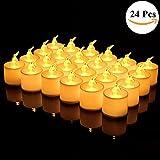Flammenlose LED Kerzen Batterie, IMMIGOO Set 24 PCS Kerze Lampe Elektrische Teelichter Kerzen mit Batterie Deko für Haus Weihnachten Party Bar Geburtstag Hochzeit Halloween (warmweiß)