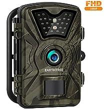 """Earthtree Wildkamera, 12MP 1080P Full HD Jagdkamera Low Glow Infrarot 20m Nachtsicht Überwachungskamera 2.4"""" LCD IP66 Wasserdichte  Nachtsichtkamera Wildkamera Fotofalle"""