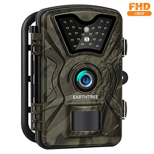 "Preisvergleich Produktbild EARTHTREE Wildkamera, 12MP 1080P Full HD Jagdkamera Low Glow Infrarot 20m Nachtsicht Überwachungskamera 2.4"" LCD IP66 Wasserdichte Nachtsichtkamera Wildkamera Fotofalle"