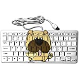 Pug Puppy Dog Drinking Wine 78 Keys Wired USB Mini Slim Keyboard For Pc Computer Laptop