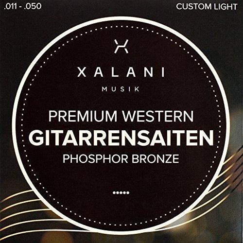 Premium Gitarrensaiten Stahl | ★Bonus: 1 hohe E-Saite und 3 edle Plektren gratis | Stahlsaiten Phosphor Bronze für Western und Akustik Gitarren | XALANI MUSIK