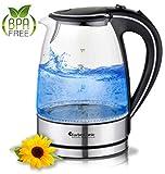 TurboTronic Glas Wasserkocher 1,7 Liter mit LED Beleuchtung Blau (innen) BPA Frei, Leistung