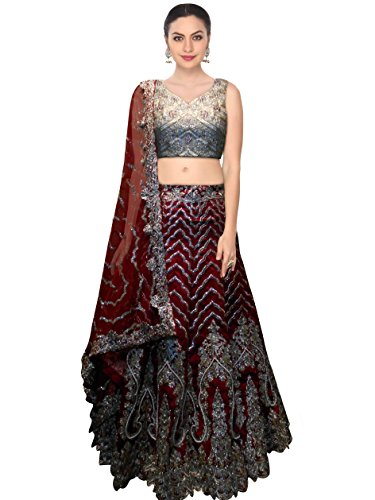 FabTexo Maroon Color Raw Silk Semi_Stitched Lehenga Saree For Women (Navratri &...