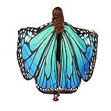 schmetterling kostüm, KOBAY Frauen Weiches Gewebe Schmetterlingsflügel Schal Fee Damen Nymph Pixie Kostüm Zubehör für Show / Daily / Party (168*135CM, Blau)