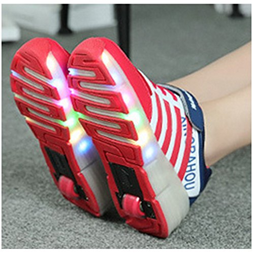 Meurry Super Light Boy Mädchen Kinder Roller Schuhe Skates LED leuchtende Rad Trainers Skateboard Sneaker Single Runde Outdoor Sportschuhe Rote