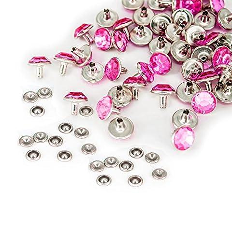 10mm mit Diamant Nieten mit farbigen Acryl für Jeans Stoff Leder Taschen Gürtel durch Hochzeit Decor, metall, hot pink, 10 mm