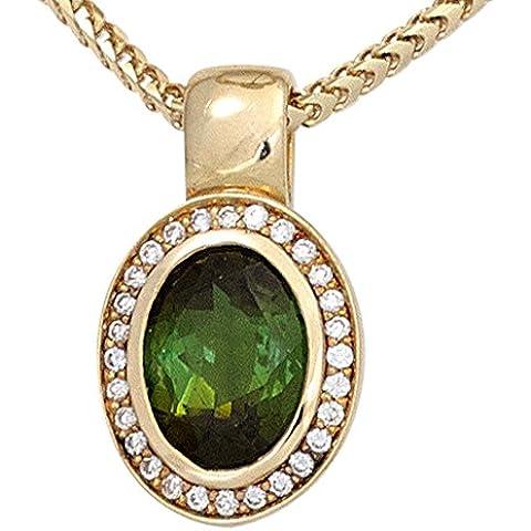 JOBO rimorchio 585 oro giallo 1 tormalina verde 28 diamanti brillanti 0, 11ct.
