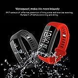 Fitness tracker, R8étanche montre téléphone intelligent Bluetooth fréquence cardiaque podomètre moniteur de pression sanguine, suivi d'activité, appels, message Push, bracelet, anti-perte pour Android et iOS, bleu