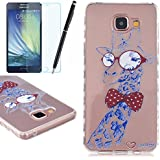 TPU Etui pour Samsung Galaxy A5 (2016), HB-Int 3 en 1 Original Motif Coque Fashion Design Housse Gel Silicone Souple Couverture Légère Slim Flexible Coque Protecteur Fonction Anti Choc Anti Rayure ?tui + Film de L'écran + Stylet (Girafe)