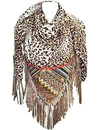 KARL LOVEN Foulard Femme Ethnique motifs Léopard et afrique à Franges -  étole - pashmina - a4bd4d9036e