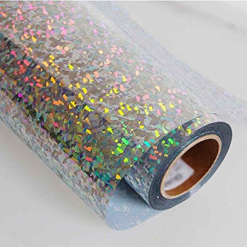 HOHO Holographisches Laser Wärmeübertragung Vinyl glänzend Farbe Drücken Druck, Papier, Folie, DIY Stoffe (50cmx100cm) 50 x 100 cm Crystal silver (Drucken Folie T-shirt)