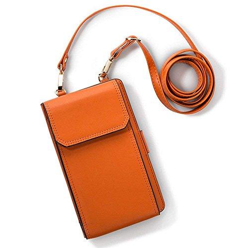 Luxus Matte Echtes Leder Mini Handytasche Handy-Tasche-Beutel mit Gurt Kleine Umhängetasche mit Vielen Fächern, Umhängen Kartentasche Geldbörse für Damen Mädchen -