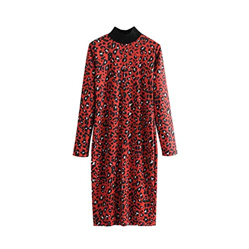 Vestido para Mujer con Estampado de Leopardo Rojo y Estampado de Animales, Manga Larga, Cuello Alto, Vestido Recto Chic - - Small