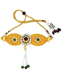 Aashya Mayro Rajwadi Maroon, Green Crystal Stone And Pearl Studded Meena Work, Adjustable Dori And Pearl Drop...