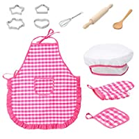 Holywin RC Car 11pcs Kids Cooking And Baking Set Kitchen Costume Role Play Kits Apron Hat